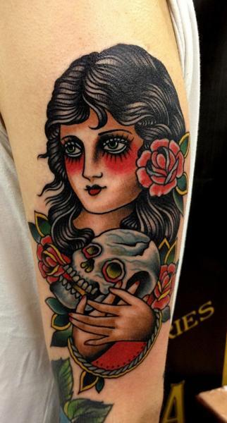 Old School Skull Women Gypsy Tattoo by Paul Anthony Dobleman