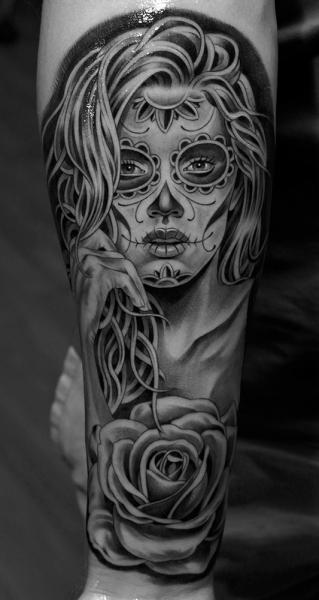 Arm Mexikanischer Totenkopf Tattoo von Jun Cha
