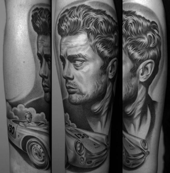 Arm Portrait Realistic Car Tattoo by Jun Cha