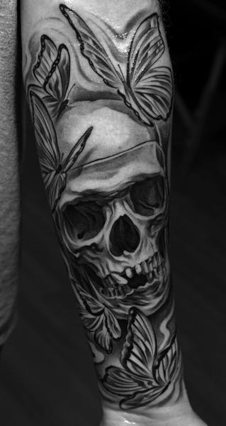Arm Skull Butterfly Tattoo by Jun Cha