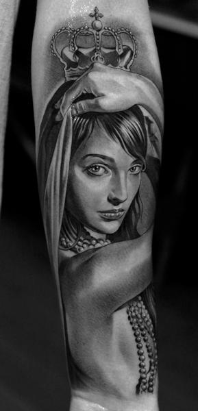 Arm Women Crown Tattoo by Jun Cha