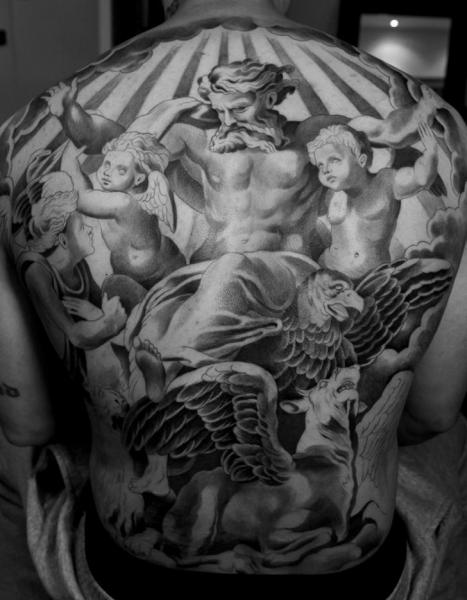Back Angel Religious God Horse Tattoo by Jun Cha