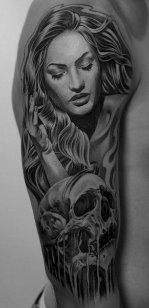 Shoulder Skull Women Tattoo by Jun Cha