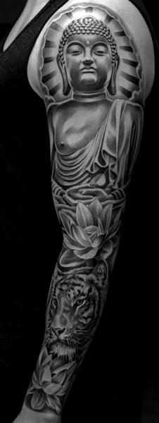 Shoulder Arm Buddha Religious Sleeve Tattoo by Jun Cha