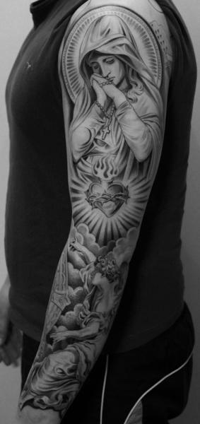 Tatuaggio Spalla Cuore Religiosi Manica di Jun Cha