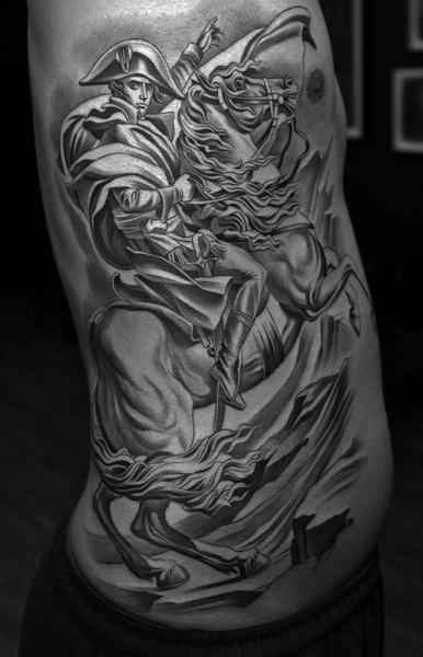 Realistic Side Horse Napoleon Tattoo by Jun Cha