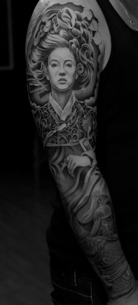 Realistic Geisha Sleeve Tattoo by Jun Cha