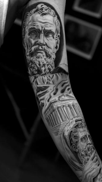 Tatouage Sleeve Zeus Pantheon Par Jun Cha