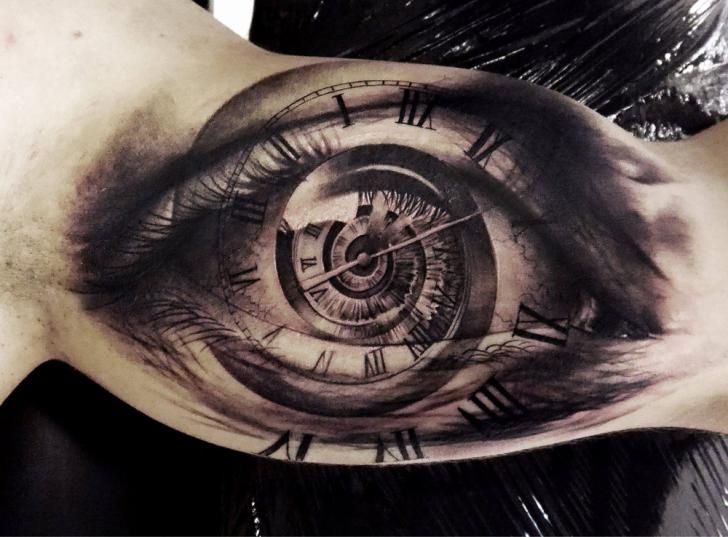 Arm Clock Eye Tattoo by Tattoo Studio 73