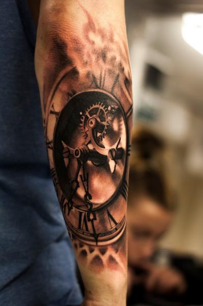 Arm Realistic Clock Tattoo by Tattoo Studio 73