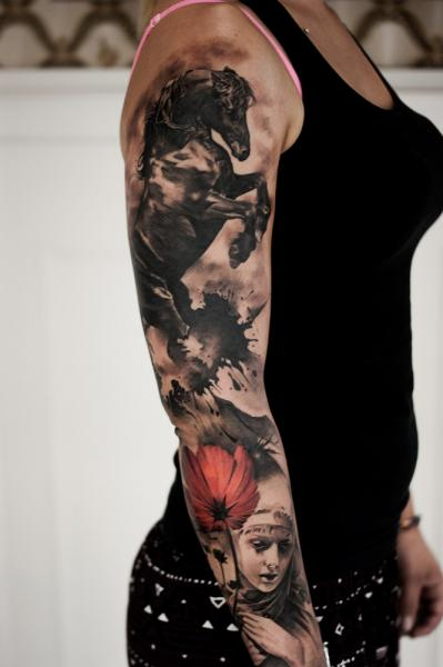 Arm Realistic Flower Horse Tattoo by Tattoo Studio 73