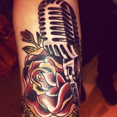 Arm Old School Flower Microphone Tattoo by Tattoo Studio 73
