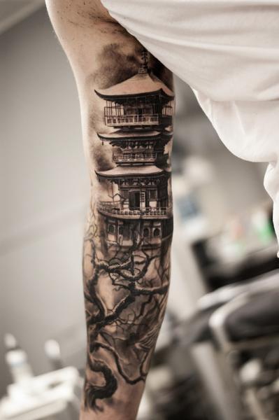 Arm Realistic Tree Pagoda Tattoo by Tattoo Studio 73