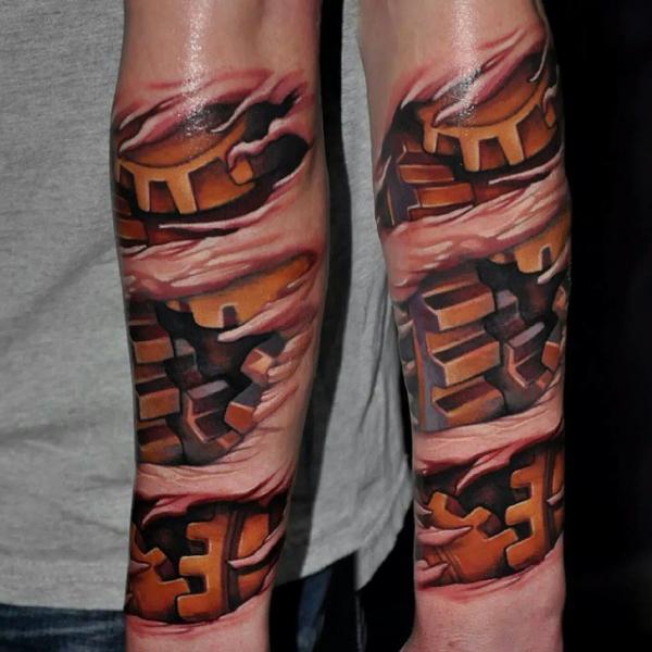 Arm Biomechanical Gear Tattoo by Rock Tattoo