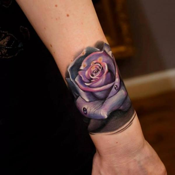 Arm Realistic Flower Tattoo by Rock Tattoo