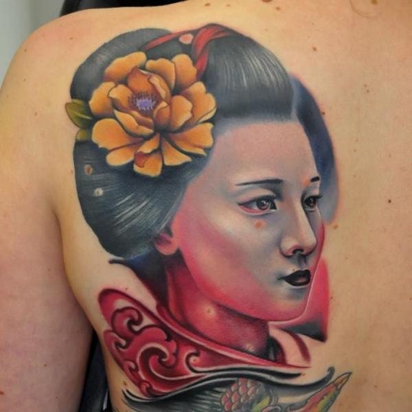 Japanese Back Geisha Tattoo by Rock Tattoo