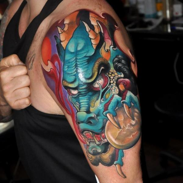 Shoulder Japanese Dragon Tattoo by Rock Tattoo
