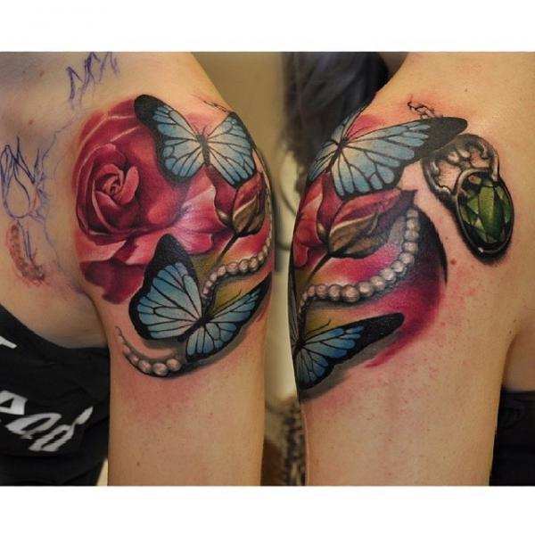 Shoulder Realistic Flower Butterfly Diamond Tattoo by Rock Tattoo
