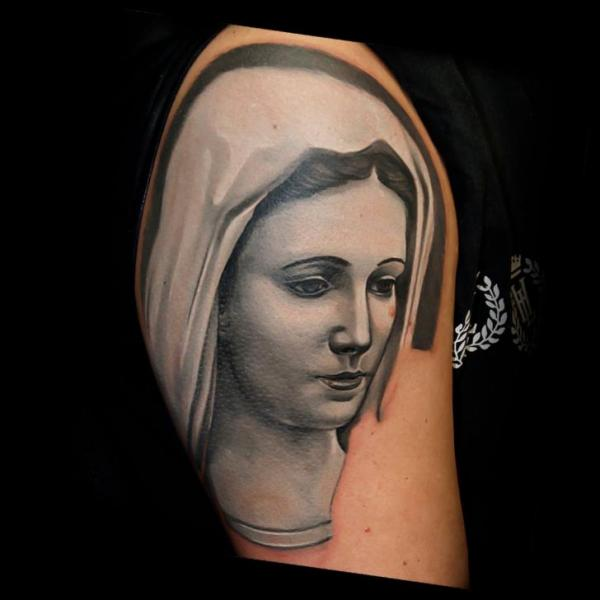 Shoulder Religious Tattoo by Rock Tattoo
