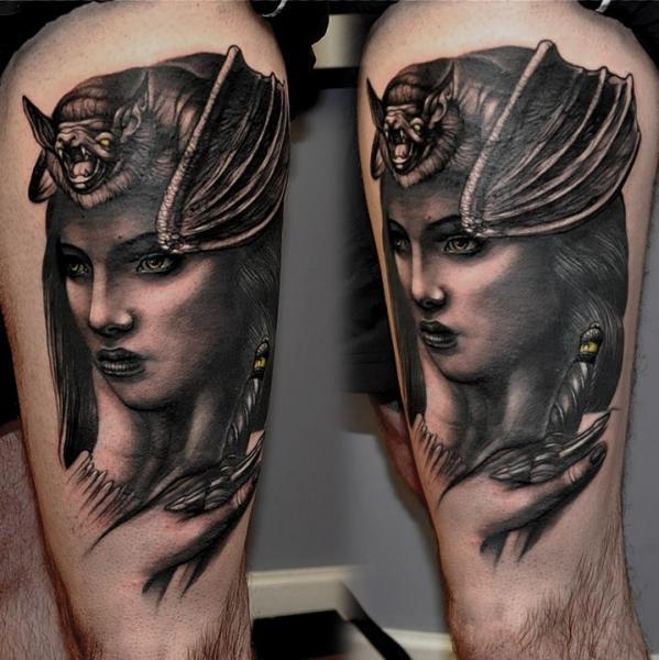 Fantasy Women Bat Thigh Tattoo by Rock Tattoo