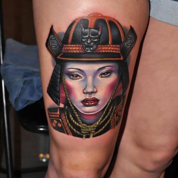 Japanese Samurai Thigh Tattoo by Rock Tattoo