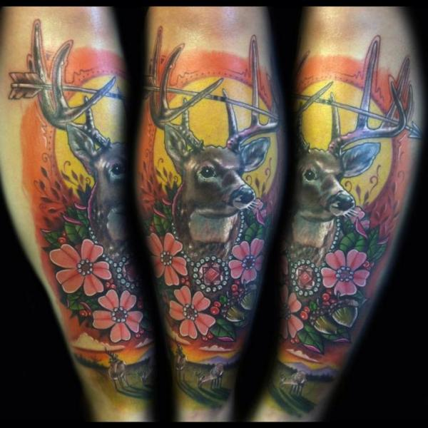 Arm Flower Deer Tattoo by Johnny Smith Art