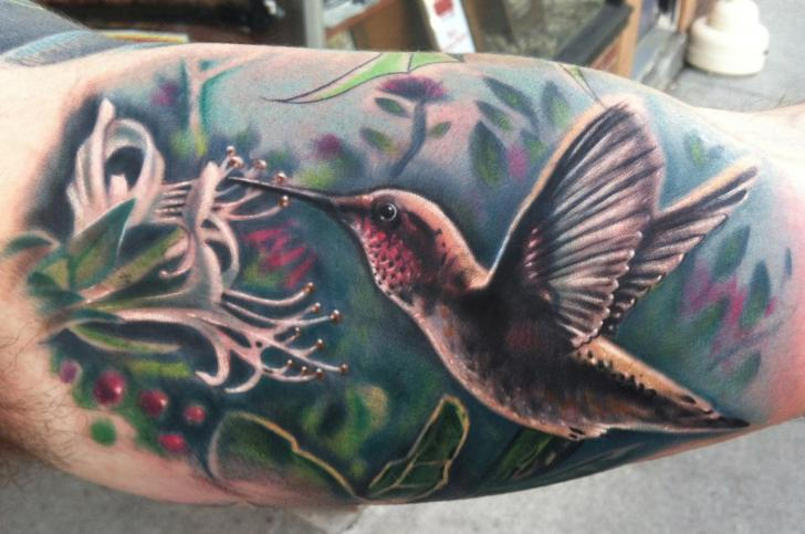 Arm Realistic Bird Colibri Tattoo by Johnny Smith Art