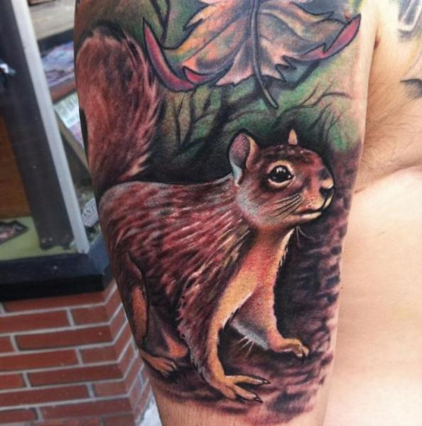 Arm Realistic Squirrel Tattoo by Johnny Smith Art