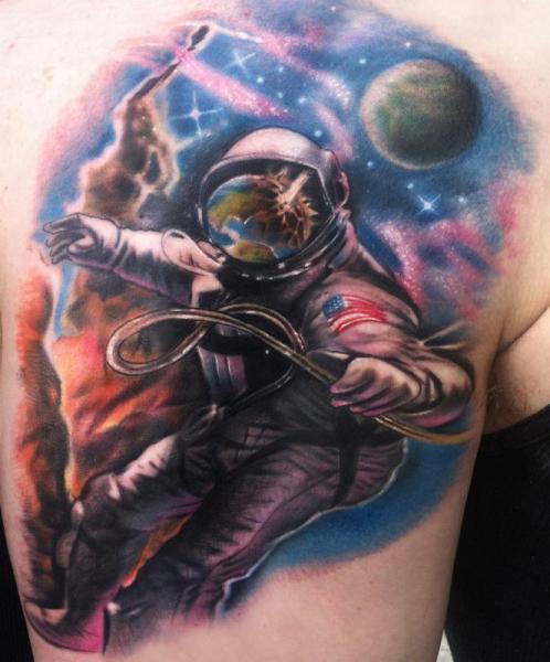 Shoulder Astronaut Tattoo by Johnny Smith Art