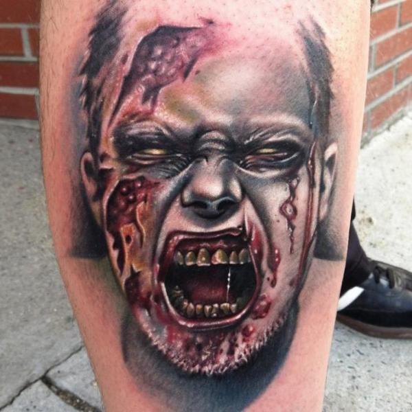 Tatouage Veau Monstre Sang Zombie Par Johnny Smith Art
