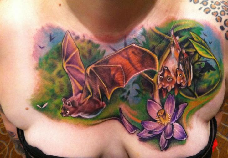 Flower Bat Tattoo by Johnny Smith Art