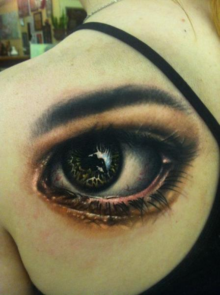 Shoulder Realistic Eye Tattoo by Johnny Smith Art