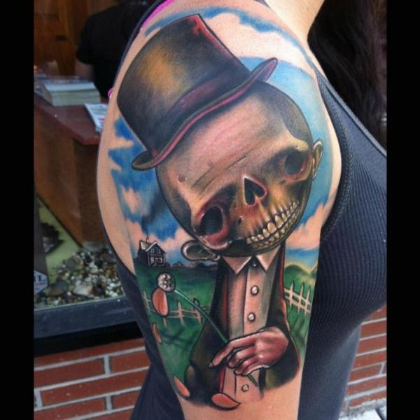 Shoulder Fantasy Skull Character Hat Tattoo by Johnny Smith Art