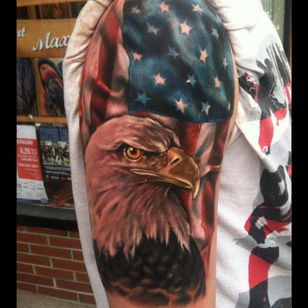 Shoulder Realistic Eagle Usa Flag Tattoo by Johnny Smith Art
