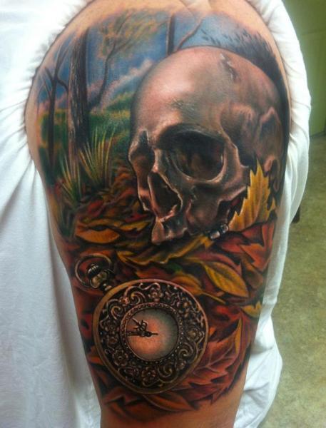Shoulder Clock Skull Tattoo by Johnny Smith Art