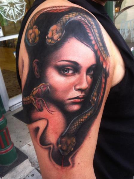 Shoulder Snake Women Tattoo by Johnny Smith Art