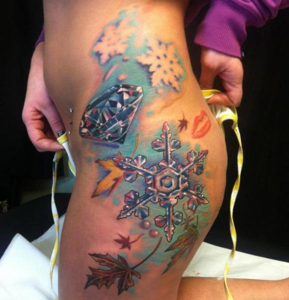 Side Diamond Snowflake Tattoo by Johnny Smith Art