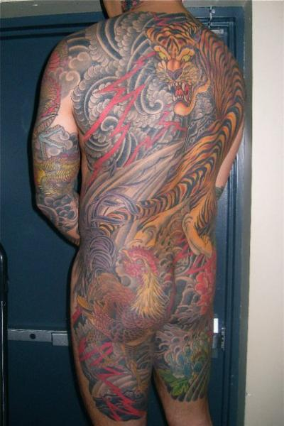 Japanese Back Tiger Butt Body Tattoo by Kings Avenue