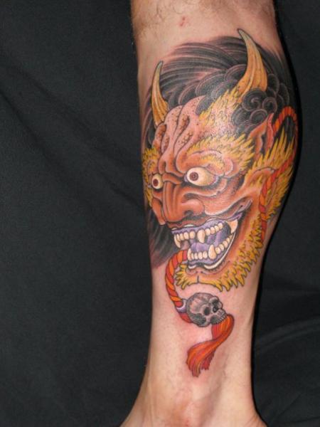 Calf Japanese Demon Tattoo by Kings Avenue