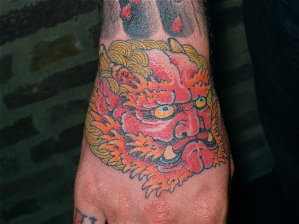 Foot Japanese Mask Tattoo by Kings Avenue