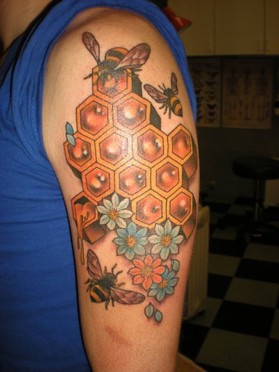 Shoulder Bee Hive Tattoo by Kings Avenue