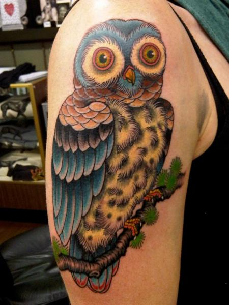 Shoulder Owl Tattoo by Kings Avenue