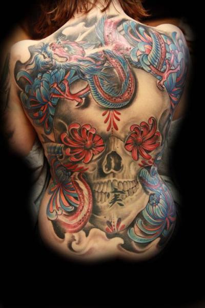 Flower Skull Back Dragon Tattoo by Secret Sidewalk