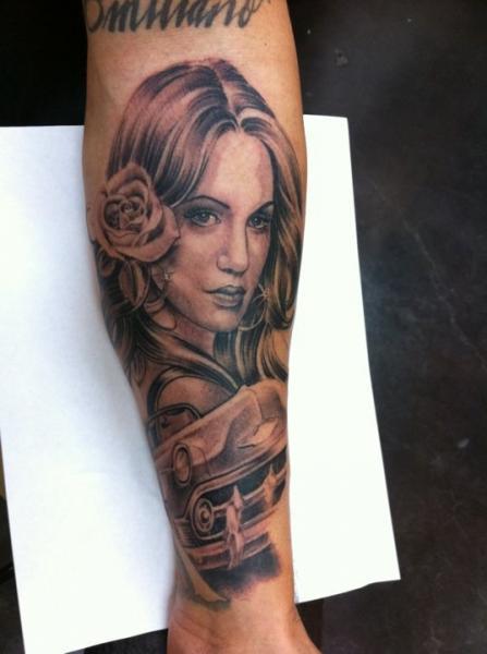Portrait Realistic Women Car Tattoo by Secret Sidewalk