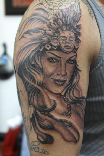 Shoulder Women Indian Tattoo by Secret Sidewalk
