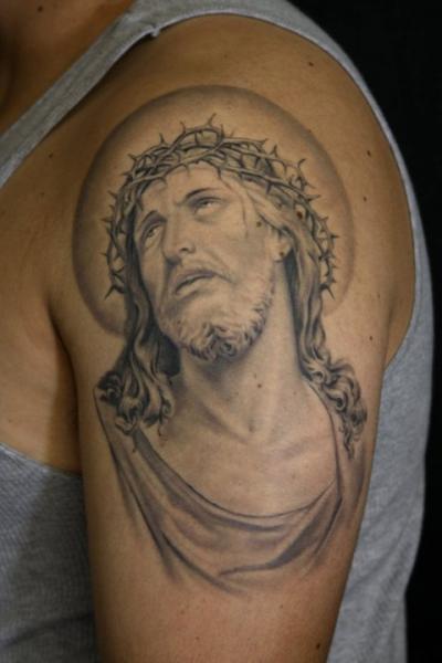 Schulter Jesus Religiös Tattoo von Secret Sidewalk