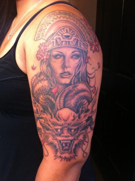 Shoulder Women Dragon Tattoo by Secret Sidewalk
