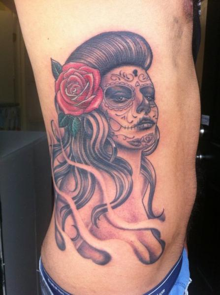 Side Mexican Skull Tattoo by Secret Sidewalk