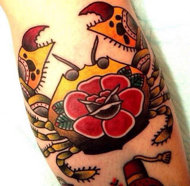 Arm Old School Crab Tattoo by Chopstick Tattoo