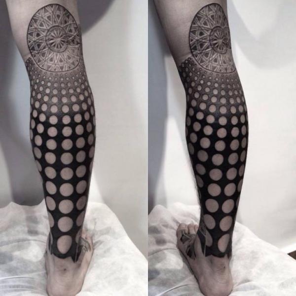 Calf Dotwork Geometric Tattoo by Chopstick Tattoo